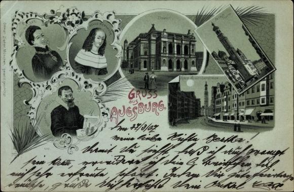 Mondschein Litho Augsburg in Schwaben,Theater, Perlach Turm, Untere Maximilianstraße, Portraits