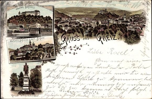 Litho Greiz in Thüringen, Oberes Schloss, Unteres Schloss, Kaiser Wilhelm Denkmal
