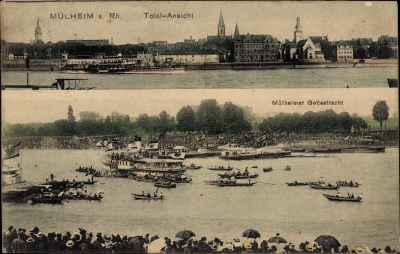 Ak Mülheim Köln Nordrhein Westfalen, Totalansicht, Mülheimer Gottestracht, Ruderboote