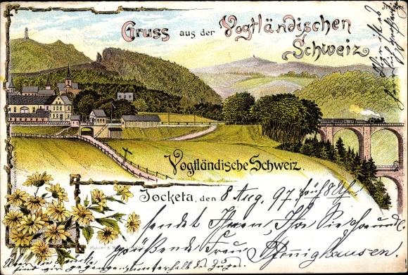 Litho Jocketa Pöhl Vogtland, Vogtländische Schweiz, Panorama, Bahnviadukt