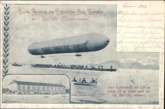 Ak Erster Aufstieg des Luftschiffes Graf Zeppelin am 02. Juli 1900