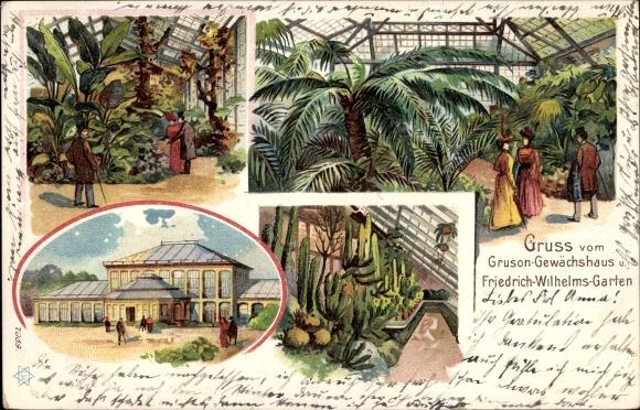 Litho Magdeburg in Sachsen Anhalt, Gruson Gewächshaus, Friedrich Wilhelms Garten