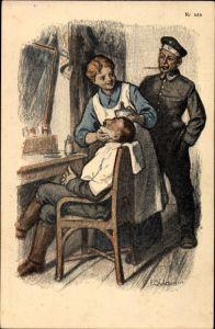 Künstler Ak Quidenus, Fritz, Soldaten beim Barbier, Friseurin