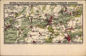 Landkarten Ak Eutin in Ostholstein, Seenlandschaft, Plön, Malente Gremsmühlen, Dieksee, Kellersee
