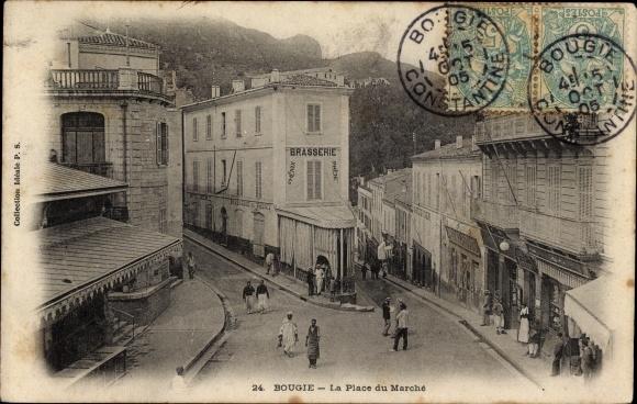 Ak Bougie Bejaia Algerien, La Place du Marché, Marktplatz, Brasserie, Geschäfte, Anwohner