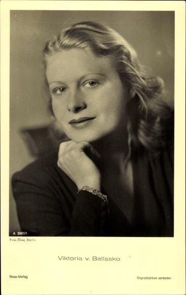 Ak Schauspielerin Viktoria von Ballasko, Portrait, Ross Verlag A 3090 1