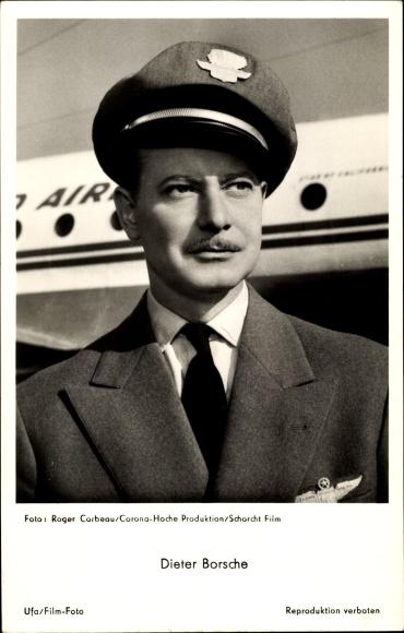 Ak Schauspieler Dieter Borsche, Portrait als Pilot, Ufa Film, Zwischenlandung in Paris