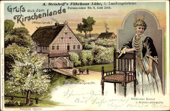Litho Lühe Jork im Kreis Stade, Gruß aus dem Kirschenlande, A. Steinhoff's Fährhaus, Altländer Braut