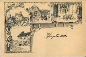 Vorläufer Litho Lutherstadt Eisenach in Thüringen, Wartburg, Burghof, Lutherhaus, Lutherstube