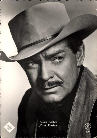 Ak Schauspieler Clark Gable, Portrait mit Hut, Drei Rivalen