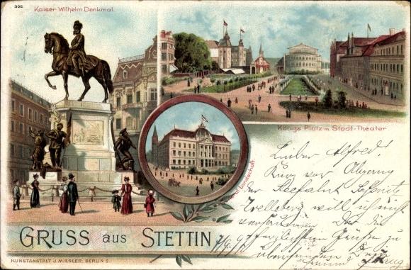 Litho Szczecin Stettin Pommern, Reiterdenkmal Kaiser Wilhelm, Rathaus, Königsplatz, Stadttheater
