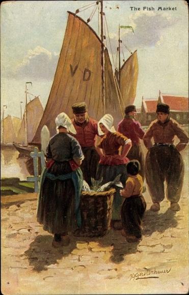 Künstler Ak Gerstenhauer, Johann, Georg, The fish market, Fischmarkt, Niederländer