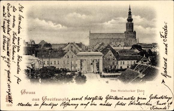 Ak Greifswald in Mecklenburg Vorpommern, Das Steinbecker Tor, Kirche