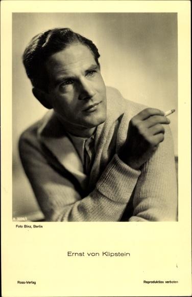 Ak Schauspieler Ernst von Klipstein, Portrait mit Zigarette, Ross Verlag A 3328 1