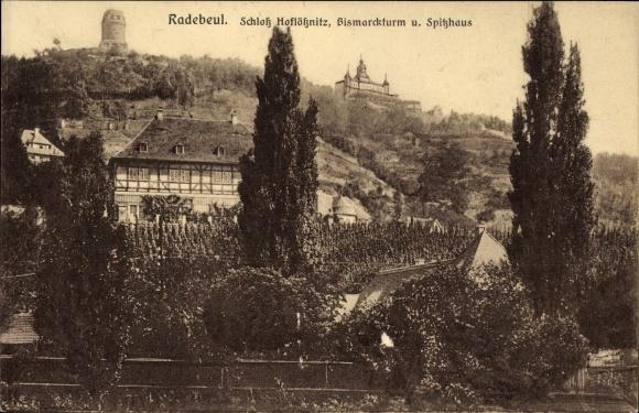 Ak Oberlößnitz Radebeul Sachsen, Schloss Hoflößnitz, Bismarckturm und Spitzhaus