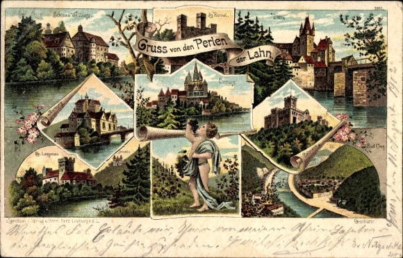 Litho Diez an der Lahn, Schloss Weilburg, Burg Runkel, Marburg, Limburg, Lahneck, Bad Ems, Arnstein