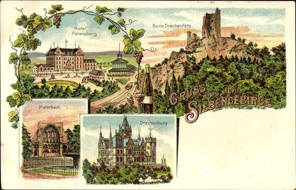 Litho Königswinter im Rhein Sieg Kreis, Hotel Petersberg, Ruine Drachenfels, Histerbach, Drachenburg