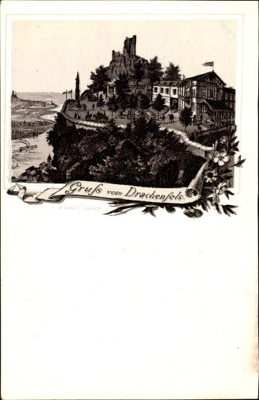 Litho Königswinter im Rhein Sieg Kreis, Gruss vom Drachenfels