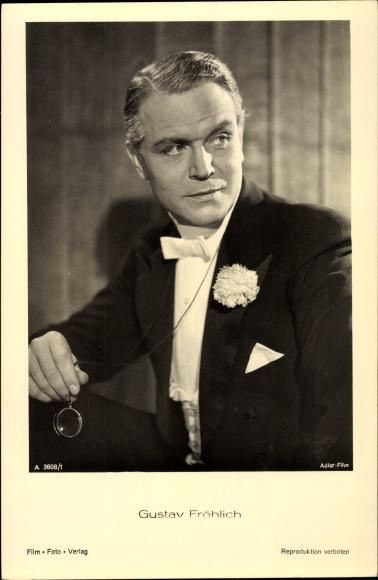 Ak Schauspieler Gustav Fröhlich, Portrait mit Monokel