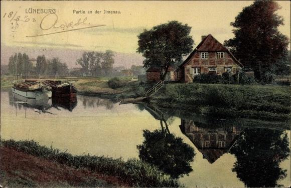 Ak Lüneburg in Niedersachsen, Partie an der Ilmenau, Fachwerkhaus