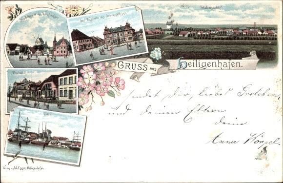 Litho Heiligenhafen in Ostholstein, Hafen, Thulboden, Marktplatz