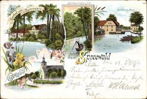 Litho Burg im Spreewald, Gasthof zum Spreewald, Mühle, Kirche, Mutnitza beim Forsthaus Eiche