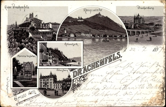 Litho Königswinter, Ruine Drachenfels, Chorruine Heisterbach, Rolandseck, Petersberg, Drachenburg