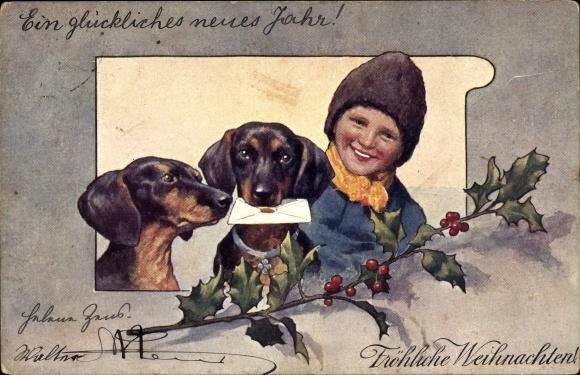 Künstler Ak Feiertag, Karl, Frohe Weihnachten, Dackel mit Brief, Junge, BKWI 2676-6