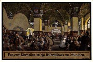 Künstler Ak Quidenus, Fritz, München, Parterre Bierhallen im Kgl. Hofbräuhaus