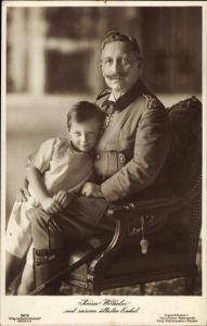 Ak Kaiser Wilhelm II. von Preußen mit seinem Enkel, Prinz Wilhelm von Preußen, Liersch 3619