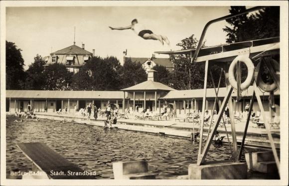 Ak Baden Baden Im Stadtkreis Baden Württemberg, Städtisches Schwimmbad,  Sprungturm 0