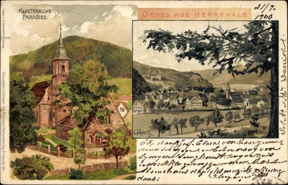 Künstler Litho Münch, C., Bad Herrenalb im Schwarzwald, Klosterruine Paradies, Gesamtansicht