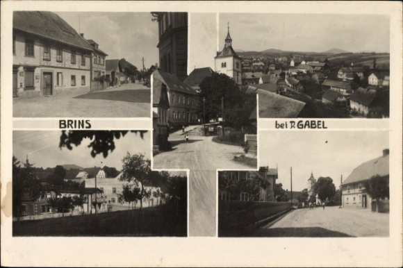 Ak Brins Jablonné v Podještědí Deutsch Gabel Reg. Reichenberg, Stadtansichten, Kirche