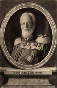 Passepartout Ak König Ludwig III. von Bayern, Portrait, Uniform, Orden