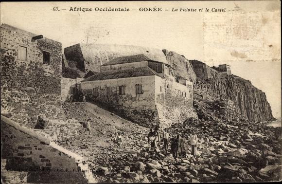 Ak Goree Senegal, La Falaise et le Castel, Steilküste, Festung