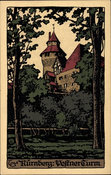 Steindruck Ak Nürnberg in Mittelfranken Bayern, Blick auf den Vestner Turm