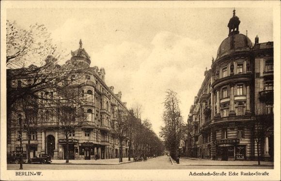 Ak Berlin Charlottenburg, Achenbachstraße Ecke Rankestraße, Ranke Schlösschen, Höhere Privatschule
