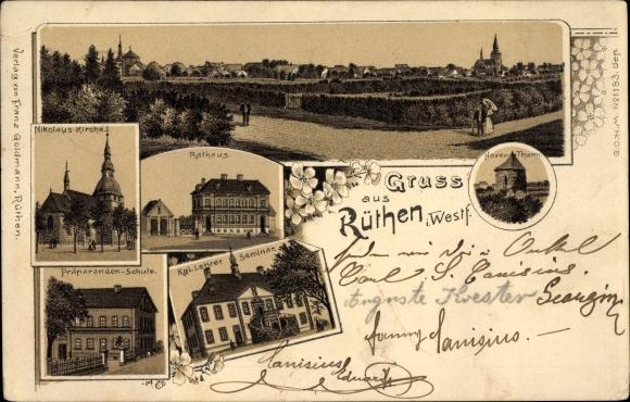 Litho Rüthen im Kreis Soest Nordrhein Westfalen, Nikolauskirche, Rathaus, Präparandenschule, Seminar