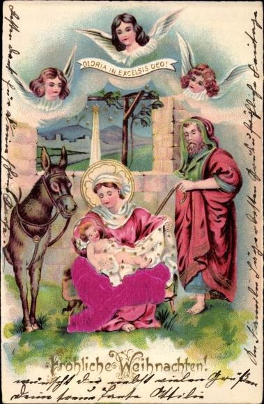 Präge Ak Frohe Weihnachten, Weihnachtskrippe, Maria, Josef, Jesuskind, Engel, Esel, Sterne