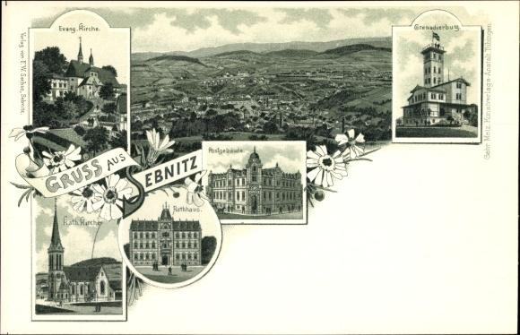 Litho Sebnitz in Sachsen, Kirche, Postgebäude, Rathaus, Grenadierburg, Panorama vom Ort