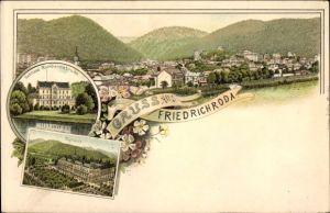 Litho Friedrichroda im Thüringer Wald, Schloss Reinhardsbrunn, Kurhaus, Panorama vom Ort