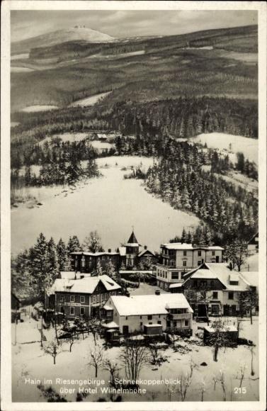 Ak Przesieka Hain Podgórzyn Giersdorf Riesengebirge Schlesien, Schneekoppenblick, Hotel Wilhelmhöhe