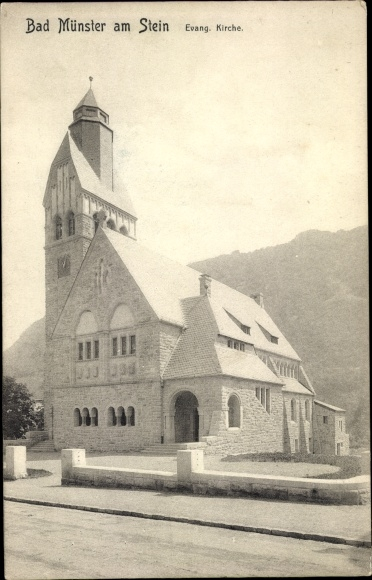 Ak Bad Münster am Stein Ebernburg Bad Kreuznach, Blick auf die evangelische Kirche