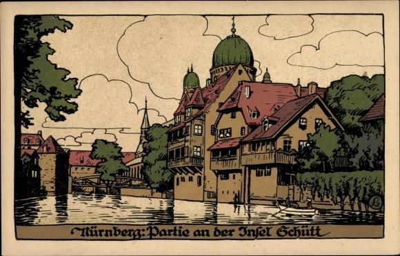 Steindruck Ak Nürnberg in Mittelfranken Bayern, Partie an der Insel Schütt, Synagoge