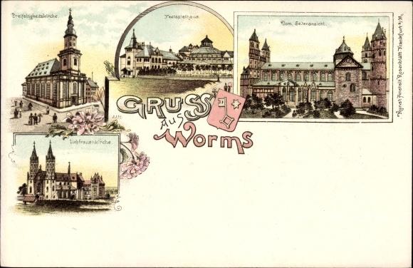 Litho Worms in Rheinland Pfalz, Dreifaltigkeitskirche, Festspielhaus, Dom, Liebfrauenkirche, Wappen
