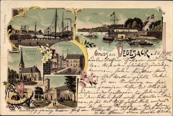 Litho Vegesack Bremen, Hafenpartie, Aumunder Kirche, Hafenstraße, Kirche