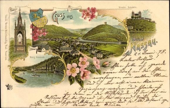 Litho Nassau im Rhein Lahn Kreis, Stendenkmal, Blick auf Ort mit Umgebung, Kloster Arnstein, Wappen