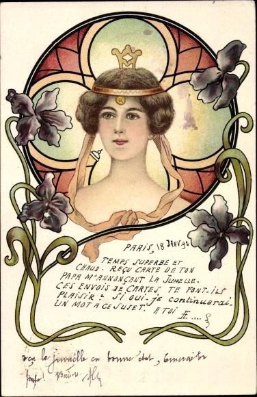 Jugendstil Litho Portrait einer jungen Frau, Kopfschmuck, Blüten