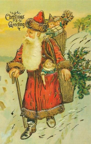 Präge Litho Frohe Weihnachten, Weihnachtsmann mit Geschenken, Christmas Greetings