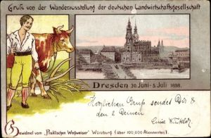 Litho Dresden, Wanderausstellung der deutschen Landwirtschaftsgesellschaft 1898, Kuh